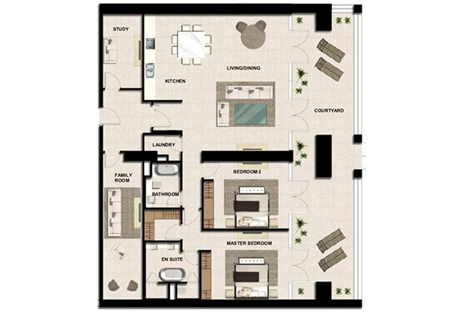 Al Zeina Abu Dhabi Floor Plan 2 Bedroom Apartment Type a 6d