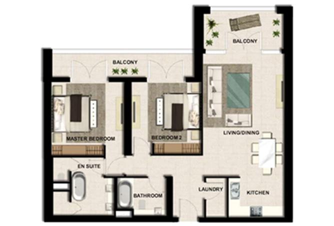 Al Zeina Abu Dhabi Floor Plan 2 Bedroom Apartment Type a1