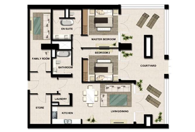 Al Zeina Abu Dhabi Floor Plan 2 Bedroom Apartment Type a1c