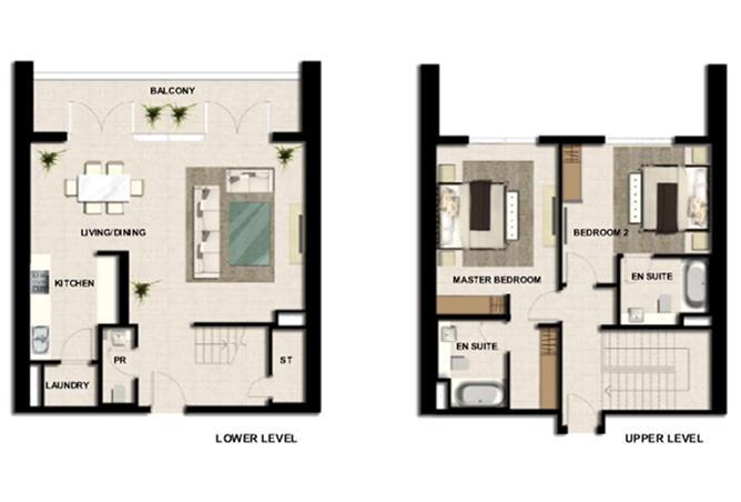 Al Zeina Abu Dhabi Floor Plan 2 Bedroom Apartment Type a2