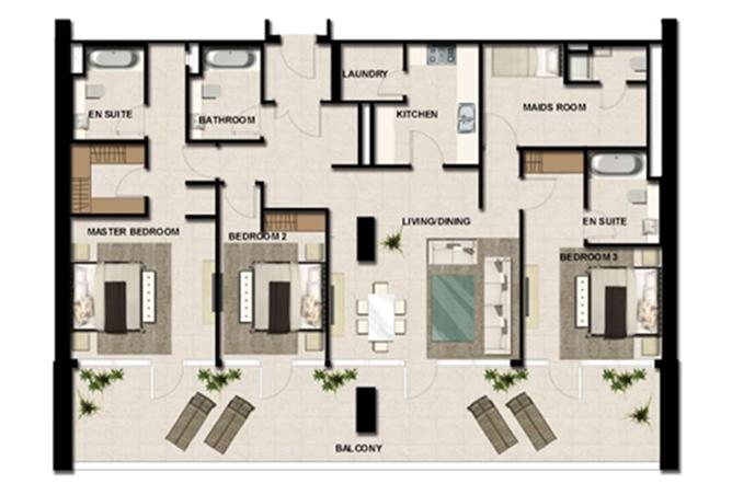 Al Zeina Abu Dhabi Floor Plan 3 Bedroom Apartment Type a 9