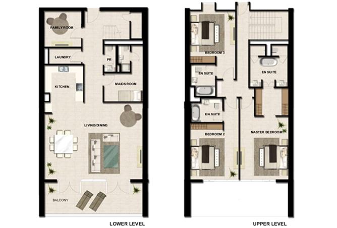 Al Zeina Abu Dhabi Floor plan 3 Bedroom Apartment Type a4