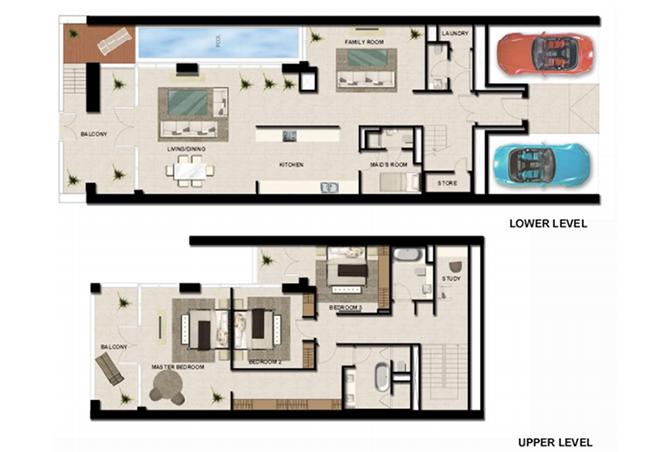 Al Zeina Abu Dhabi Floor Plan 3 Bedroom Townhouse Type th 1