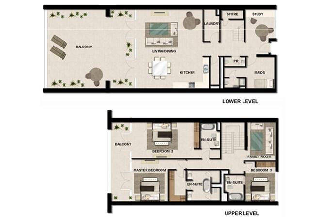 Al Zeina Abu Dhabi Floor Plan 3 Bedroom Townhouse Type th 7