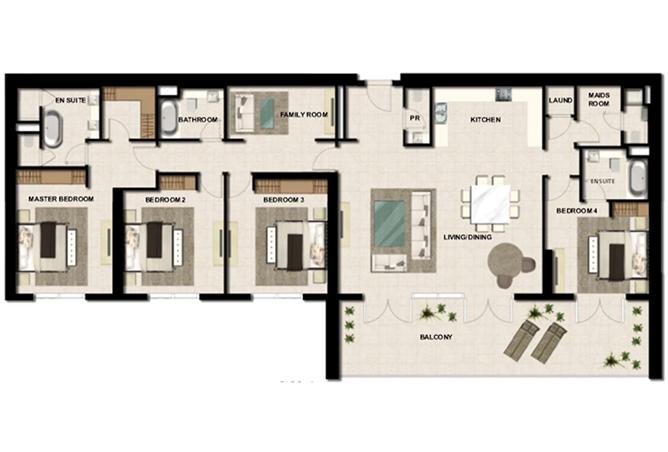 Al Zeina Abu Dhabi Floor Plan 4 Bedroom Apartment Type a 6c