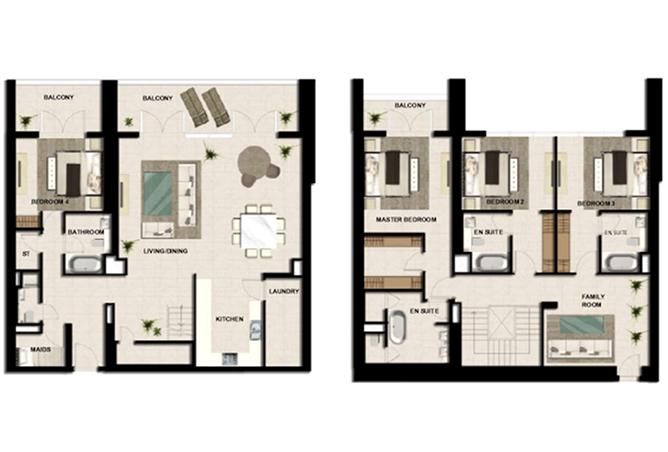 Al Zeina Abu Dhabi Floor Plan 4 Bedroom Apartment Type a 7