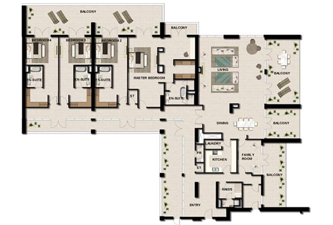 Al Zeina Abu Dhabi Floor Plan 4 Bedroom Apartment Type ph a2