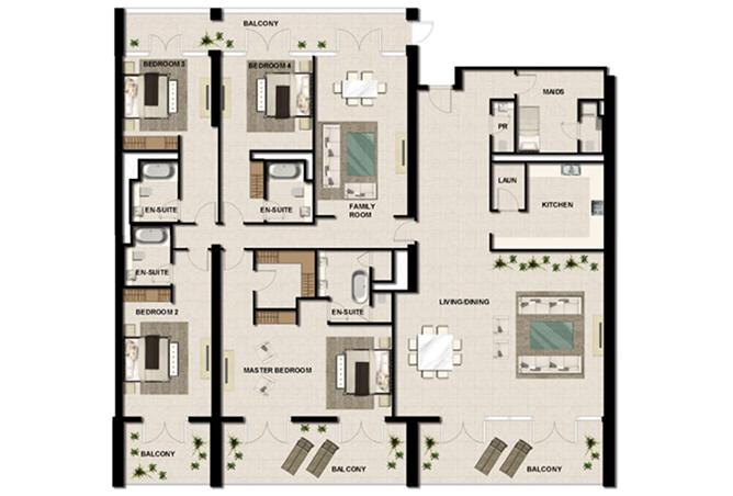 Al Zeina Abu Dhabi Floor Plan 4 Bedroom Apartment Type ph a4