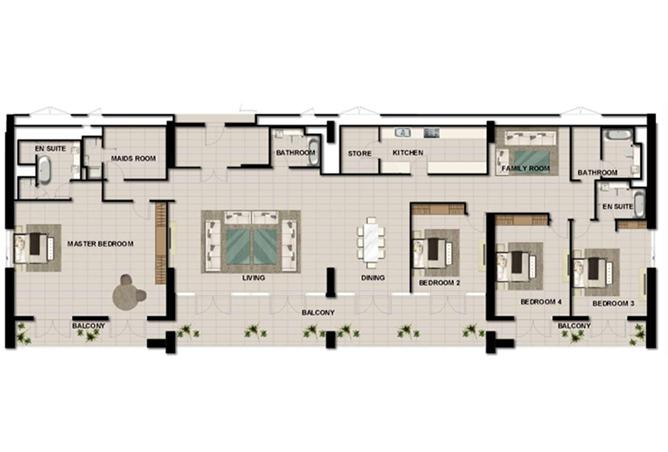 Al Zeina Abu Dhabi Floor Plan 4 Bedroom Penthouse Type e1