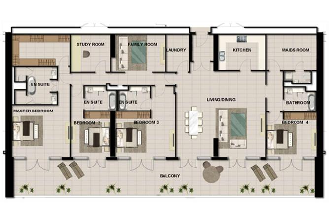 Al Zeina Abu Dhabi Floor Plan 4 Bedroom Penthouse Type f2