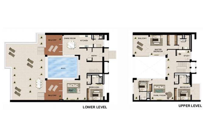 Al Zeina Abu Dhabi Floor Plan 4 Bedroom Podium Villa Type pv2 b2
