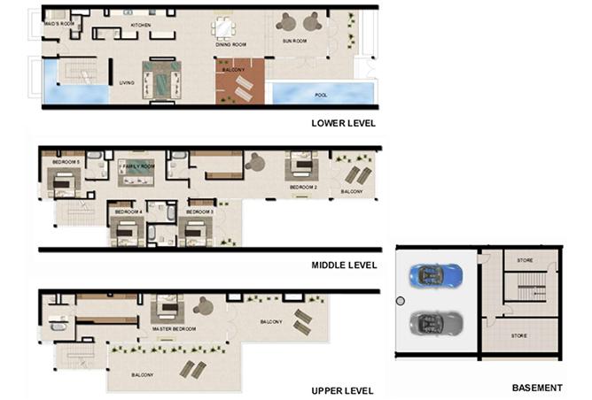 Al Zeina Abu Dhabi Floor Plan 5 Bedroom Beach Villa Type bv 3c