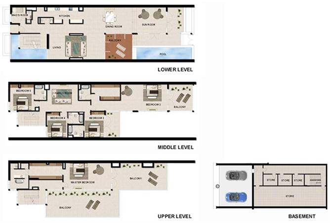 Al Zeina Abu Dhabi Floor Plan 5 Bedroom Beach Villa Type bv 3d