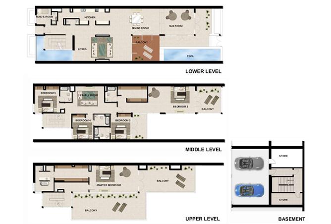 Al Zeina Abu Dhabi Floor Plan 5 Bedroom Beach Villa Type bv 3g