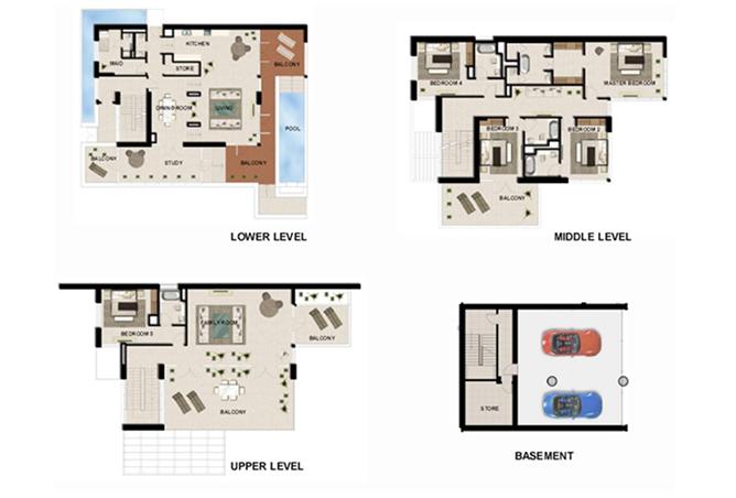 Al Zeina Abu Dhabi Floor Plan 5 Bedroom Beach Villa Type bv 4a