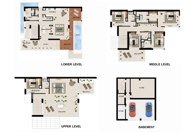 Al Zeina Abu Dhabi Floor Plan 5 Bedroom Beach Villa Type bv 4b
