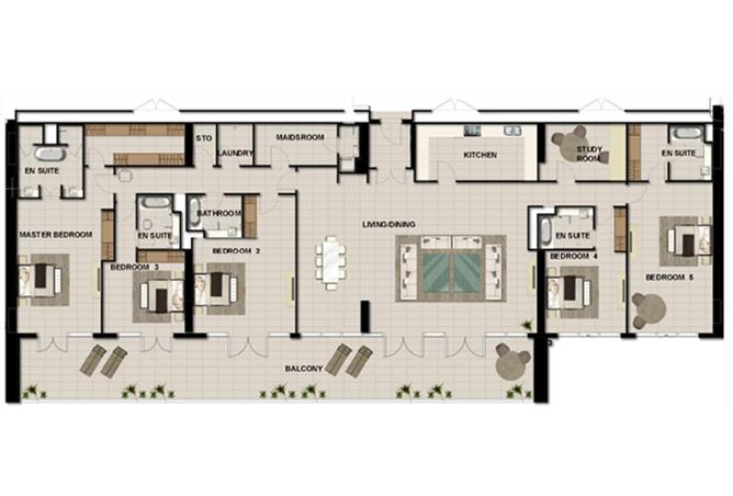 Al Zeina Abu Dhabi Floor Plan 5 Bedroom Penthouse Type f1