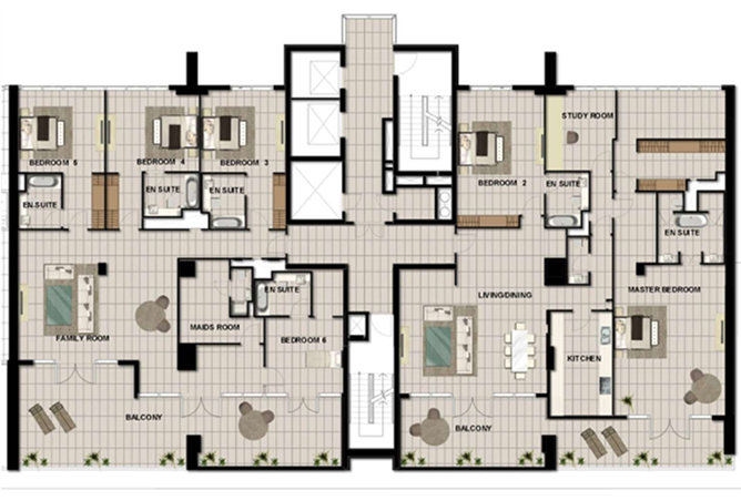 Al Zeina Abu Dhabi Floor Plan 5 Bedroom Penthouse Type f3