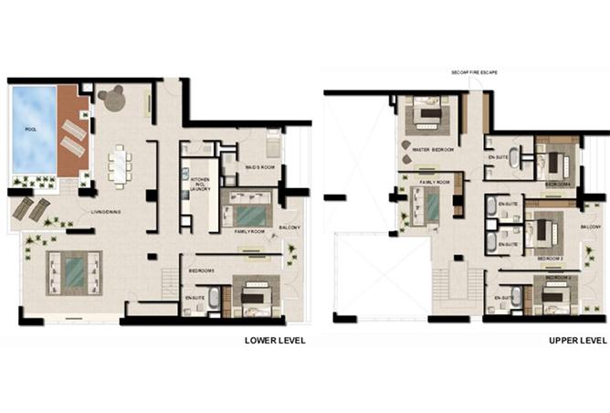 Al Zeina Abu Dhabi Floor Plan 5 Bedroom Sky Villa Type sv 1