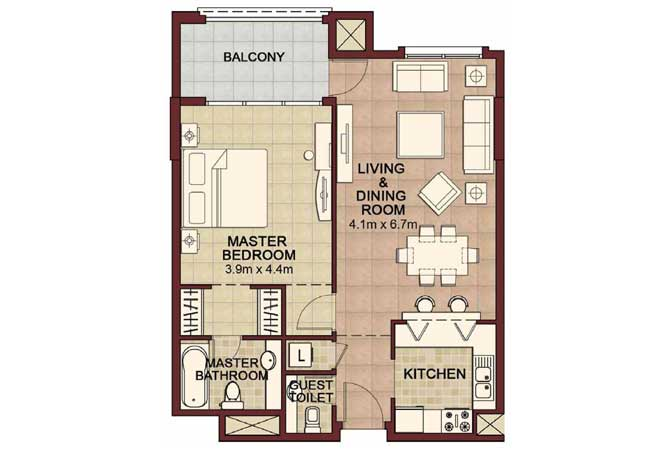 Ansam Floor Plan 1 Bedroom Apartment Type a 887 Sqft 2