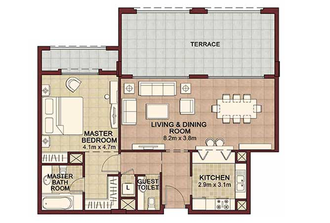 Ansam Floor Plan 1 Bedroom Apartment Type b 1277 Sqft 1