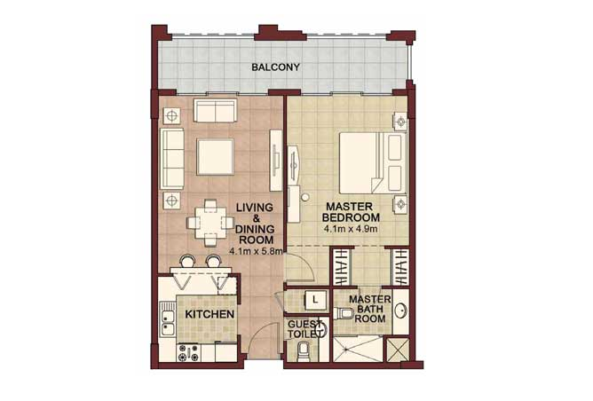 Ansam Floor Plan 1 Bedroom Apartment Type b 952 Sqft 4