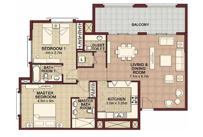 Ansam Floor Plan 2 Bedroom Apartment Type a 1529 Sqft 4