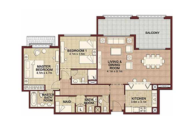 Ansam Floor Plan 2 Bedroom Apartment Type a 1565 Sqft 1
