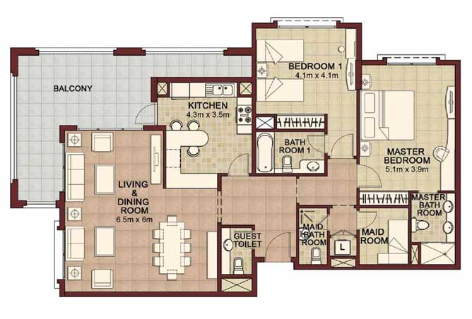 Ansam Floor Plan 2 Bedroom Apartment Type a 1714 Sqft 2