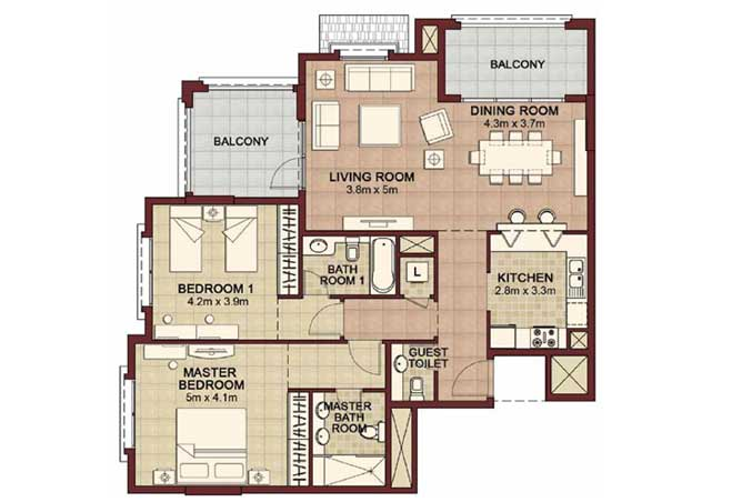 Ansam Floor Plan 2 Bedroom Apartment Type b 1472 Sqft 2