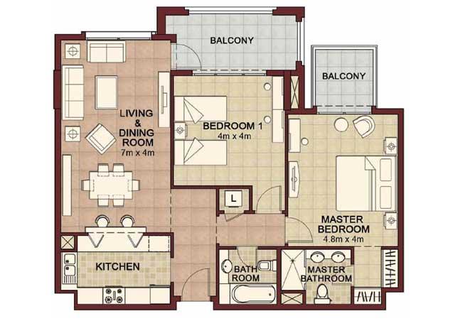 Ansam Floor Plan 2 Bedroom Apartment Type c 1366 Sqft 2