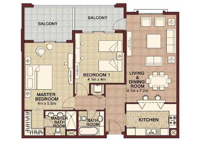 Ansam Floor Plan 2 Bedroom Apartment Type c 1408 Sqft 4