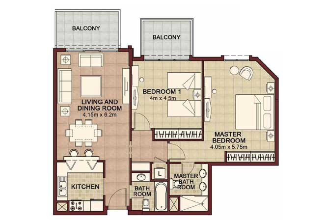 Ansam Floor Plan 2 Bedroom Apartment Type d 1246 Sqft 2
