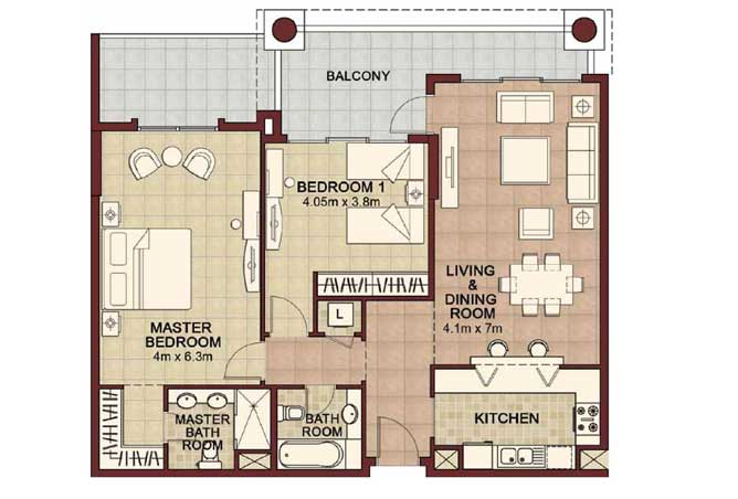 Ansam Floor Plan 2 Bedroom Apartment Type d 1462 Sqft 4