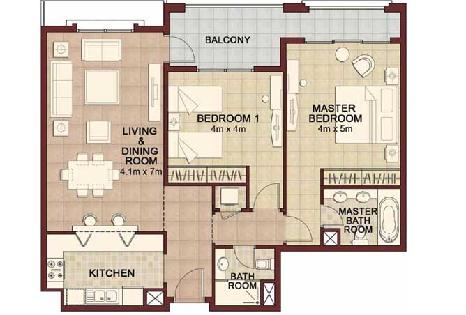 Ansam Floor Plan 2 Bedroom Apartment Type e 1275 Sqft 4