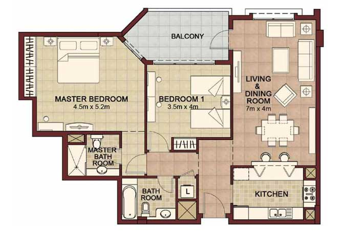 Ansam Floor Plan 2 Bedroom Apartment Type e 1278 Sqft 2