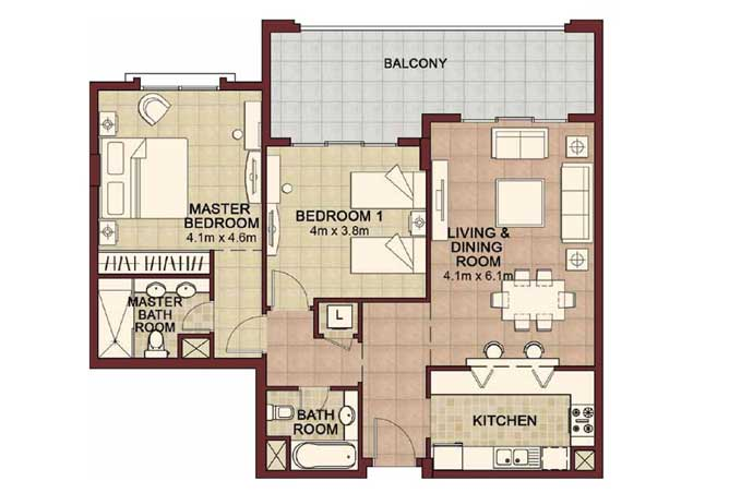 Ansam Floor Plan 2 Bedroom Apartment Type e 1296 Sqft 1