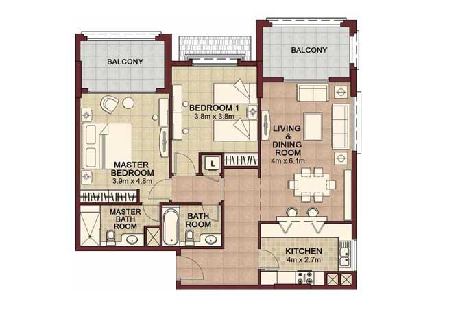 Ansam Floor Plan 2 Bedroom Apartment Type f 1298 Sqft 1