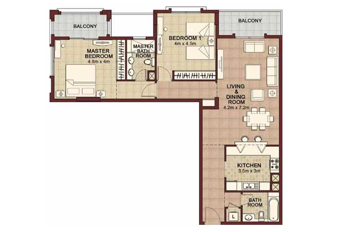 Ansam Floor Plan 2 Bedroom Apartment Type f 1460 Sqft 4
