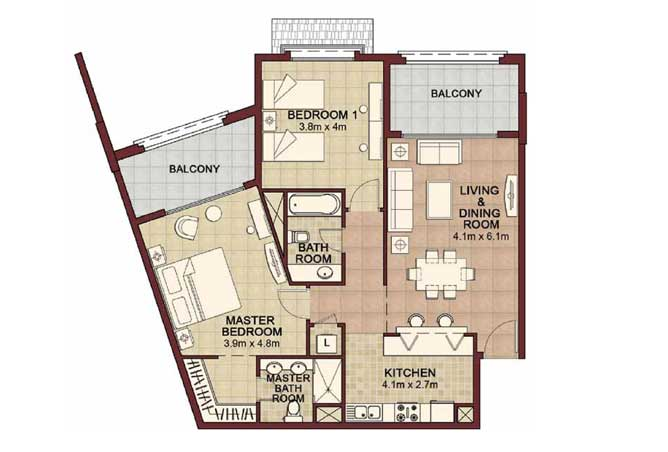 Ansam Floor Plan 2 Bedroom Apartment Type g 1276 Sqft 1