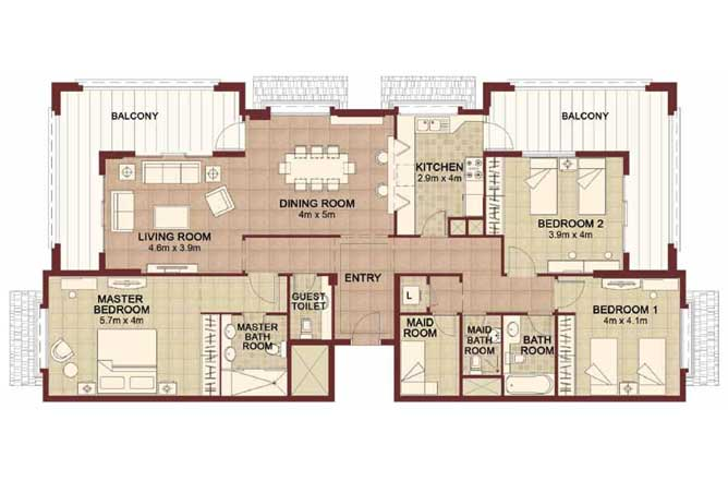 Ansam Floor Plan 3 Bedroom Apartment Type a 2178 Sqft 1