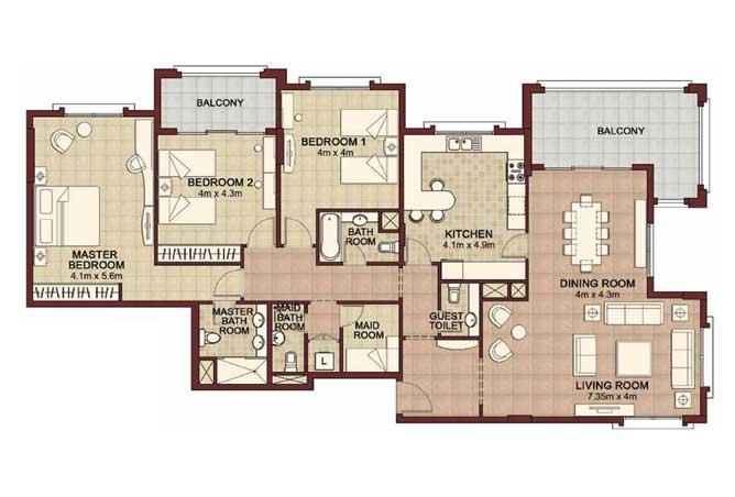 Ansam Floor Plan 3 Bedroom Apartment Type b 2215 Sqft 4