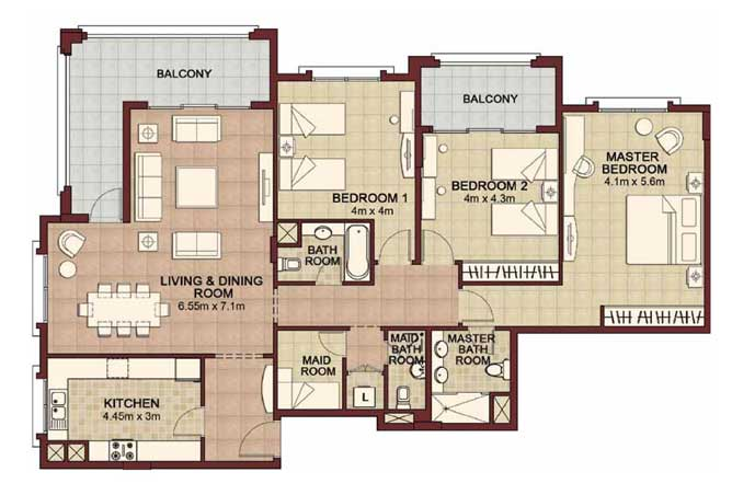 Ansam Floor Plan 3 Bedroom Apartment Type c 1982 Sqft 4