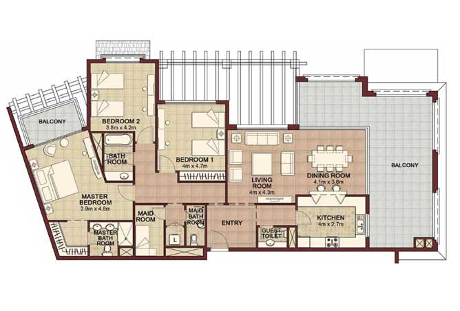 Ansam Floor Plan 3 Bedroom Apartment Type c 2253 Sqft 1