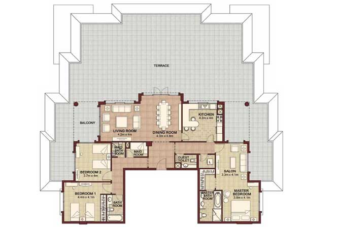 Ansam Floor Plan 3 Bedroom Apartment Type d 4199 Sqft 4