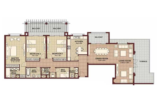 Ansam Floor Plan 3 Bedroom Apartment Type e 2795 Sqft 4