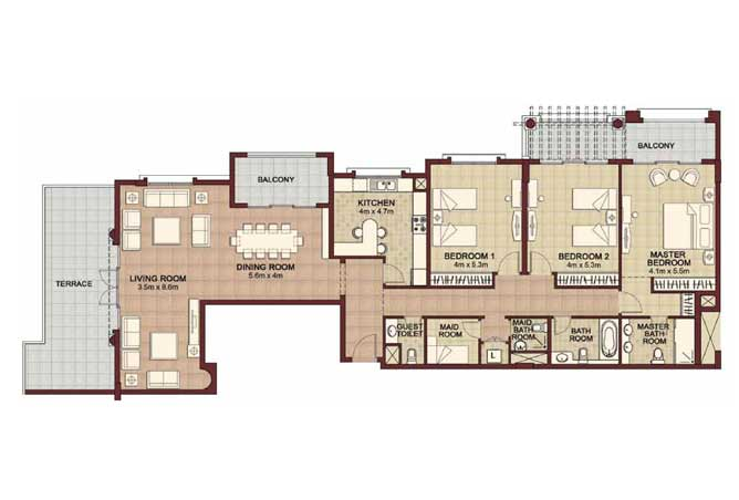 Ansam Floor Plan 3 Bedroom Apartment Type f 2737 Sqft 4