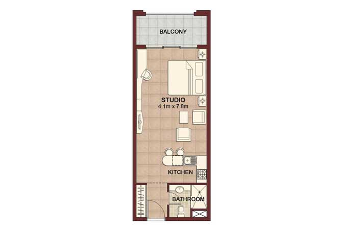 Ansam Floor Plan Studio Apartment Type a 545 Sqft 4
