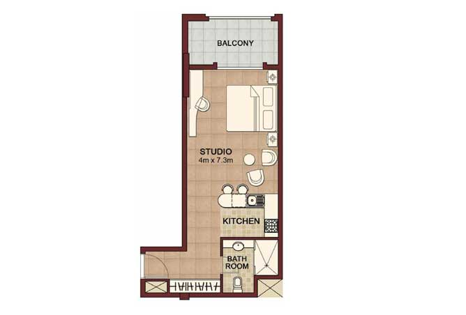 Ansam Floor Plan Studio Apartment Type b 558 Sqft 2