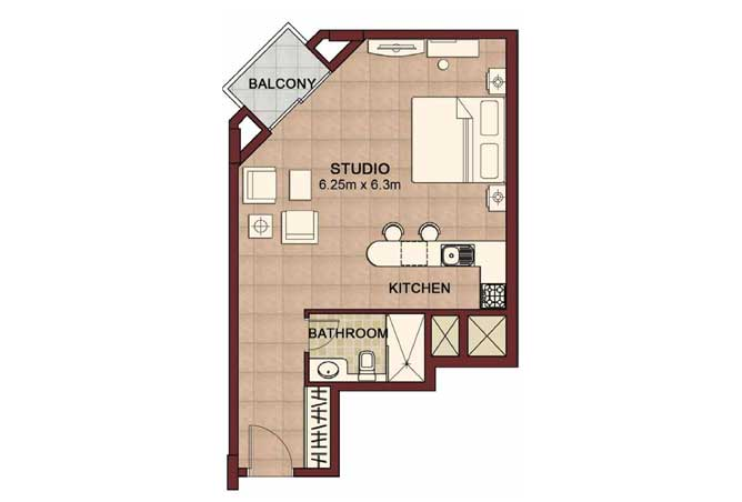 Ansam Floor Plan Studio Apartment Type b 568 Sqft 4